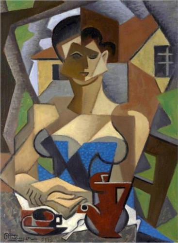 femme assise , It Accappatoio Bleue di Jean Dominique Antony Metzinger (1883-1956, France)