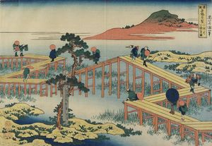 Katsushika Hokusai - ancient view Di Eight-parts Ponte