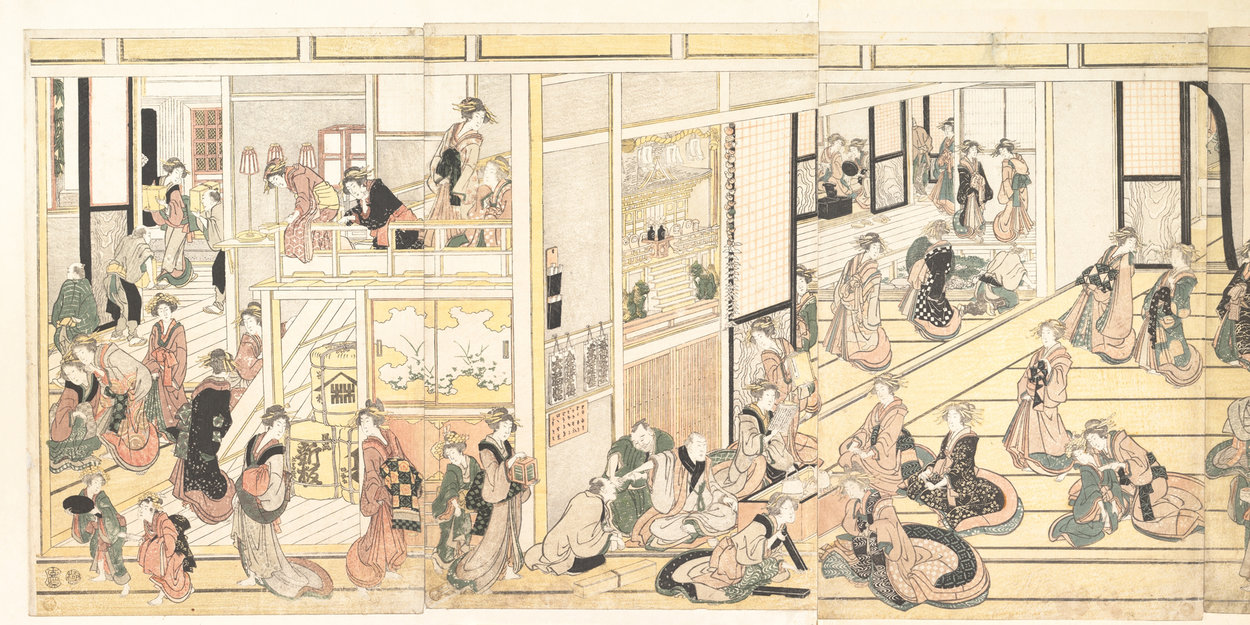 Capodanno At The Ogiya Seiro di Katsushika Hokusai (1760-1849, Japan) | WahooArt.com