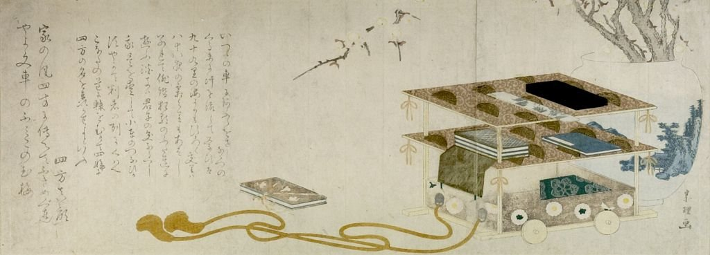 Wheeled Writing Table di Katsushika Hokusai (1760-1849, Japan) | Riproduzioni Di Quadri Famosi | WahooArt.com