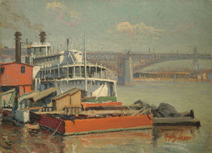 Richard Hayley Lever - Paddle Steamer Mark Twain, Fiume Mississippi Eads Bridge At St. Louis