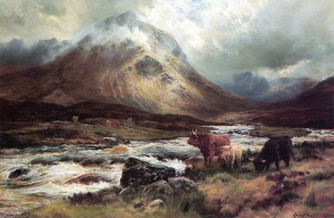 Un Valanga in glen sligachan , Skye di Louis Bosworth Hurt (1856-1929, United Kingdom)