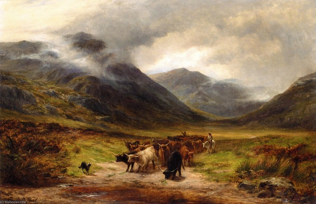 Ordinare Pittura Fatta A Mano bestiame transumanza nelle highlands di Louis Bosworth Hurt (1856-1929, United Kingdom) | WahooArt.com | Ordinare Riproduzione Della Pittura bestiame transumanza nelle highlands di Louis Bosworth Hurt (1856-1929, United Kingdom) | WahooArt.com