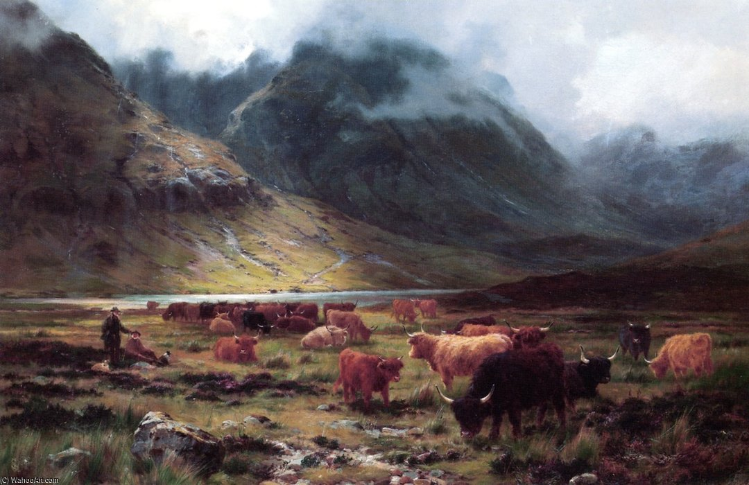 Bestiame in una valle di Louis Bosworth Hurt (1856-1929, United Kingdom)
