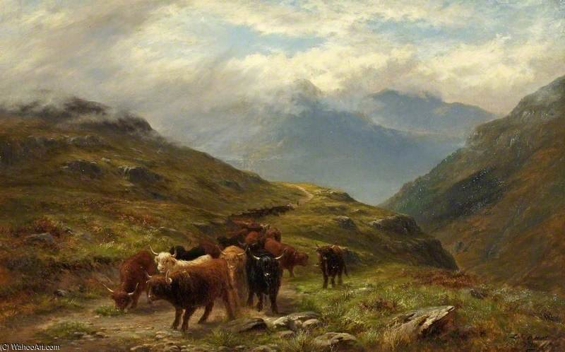 Montanaro Bestiame , a montagna strada , vicino ballachulish di Louis Bosworth Hurt (1856-1929, United Kingdom)
