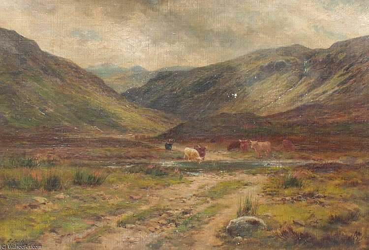 Glen Logan Kinlochewe di Louis Bosworth Hurt (1856-1929, United Kingdom) | Riproduzione Art | WahooArt.com