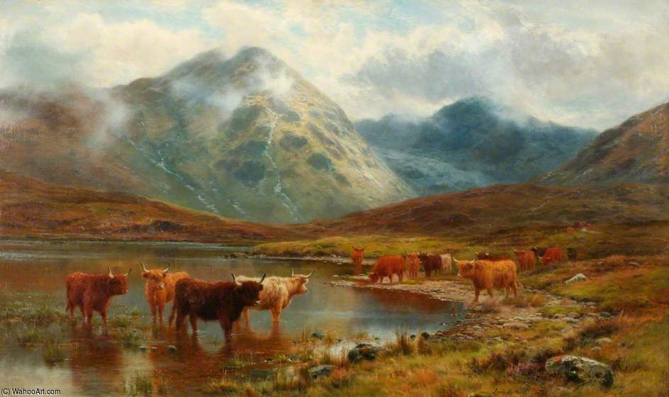 cattle scotch e nebbia  di Louis Bosworth Hurt (1856-1929, United Kingdom) | WahooArt.com