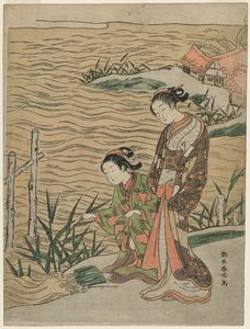 Suzuki Harunobu - due donne con canne e waterside Cottage