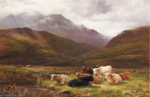 Ordinare Riproduzione Art : Un Pascolo in glen falloch , Perthshire di Louis Bosworth Hurt (1856-1929, United Kingdom) | WahooArt.com