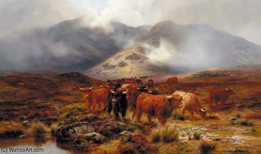 Crossing The Moorland di Louis Bosworth Hurt (1856-1929, United Kingdom) | Stampe D'arte Su Tela | WahooArt.com