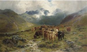 Louis Bosworth Hurt - Highland Cattle E Drovers in una valle