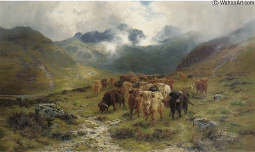 Highland Cattle E Drovers in una valle di Louis Bosworth Hurt (1856-1929, United Kingdom) | Riproduzioni Di Quadri Famosi | WahooArt.com