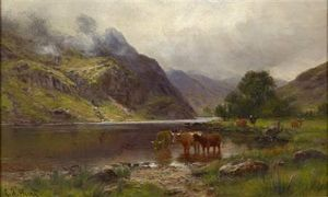 Louis Bosworth Hurt - Montanaro cattle watering del Loch's Limite