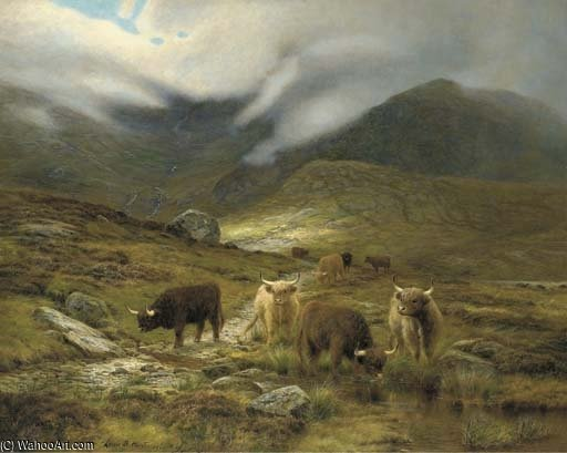 le colline Di Skye di Louis Bosworth Hurt (1856-1929, United Kingdom)