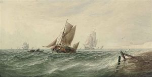 Ordinare Riproduzione Art : Un Caricato Fieno Chiatta e altri spedizione in mosso acque spegnere il white cliffs di dover di Thomas Sewell Robins (1810-1880, United Kingdom) | WahooArt.com