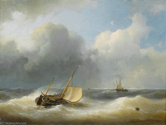 In Choppy Seas di Abraham Hulk Senior (1813-1897, Netherlands)
