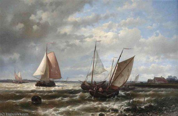 Vela Sul Choppy Waters di Abraham Hulk Senior (1813-1897, Netherlands)