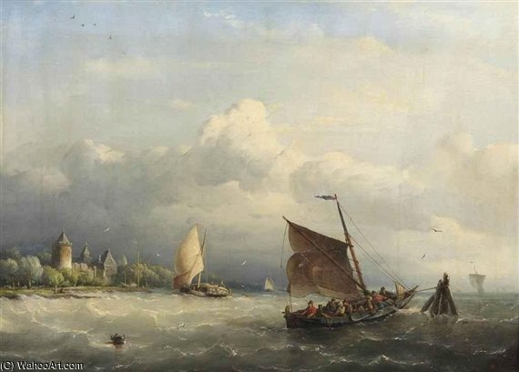 Un Peschereccio Ormeggio In Choppy Waters di Nicolaas Riegen (1827-1889, Netherlands)