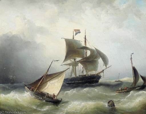 Spedizione Occupato In una brezza Off The Coast di Nicolaas Riegen (1827-1889, Netherlands)