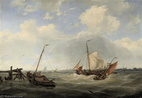 Vela Sul Choppy Waters di Nicolaas Riegen (1827-1889, Netherlands)