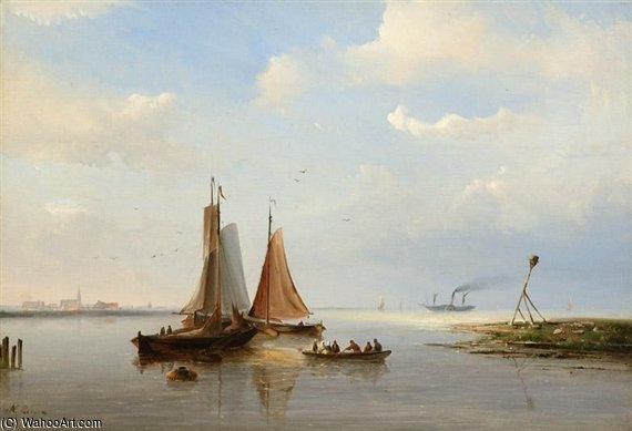 Tre barche By A Rivermouth di Nicolaas Riegen (1827-1889, Netherlands)
