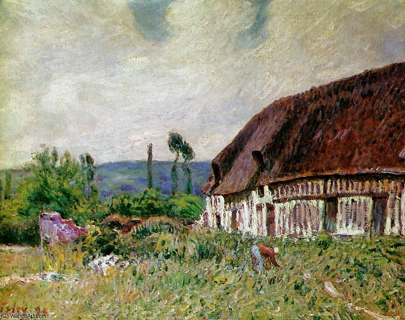 Colonica in Normandie Sole di Alfred Sisley (1839-1899, France) | WahooArt.com