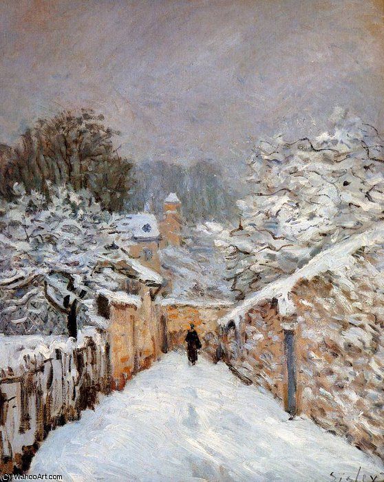 Neve in Louveciennes Sun di Alfred Sisley (1839-1899, France)