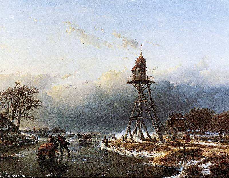 Boa a haarlemmermeer Sole di Andreas Schelfhout (1787-1870, Netherlands) | Stampe D'arte Su Tela | WahooArt.com