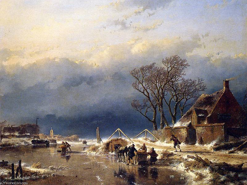 Scaters con le slitte sole  di Andreas Schelfhout (1787-1870, Netherlands) | WahooArt.com
