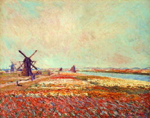 Claude Monet - Bulbfield e Windmill Vicino Leyden
