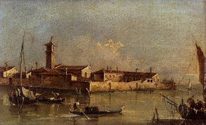 Francesco Lazzaro Guardi - vista di isola di san michele vicino a murano venezia