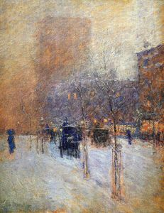 Frederick Childe Hassam - Inverno sera a new york Sole