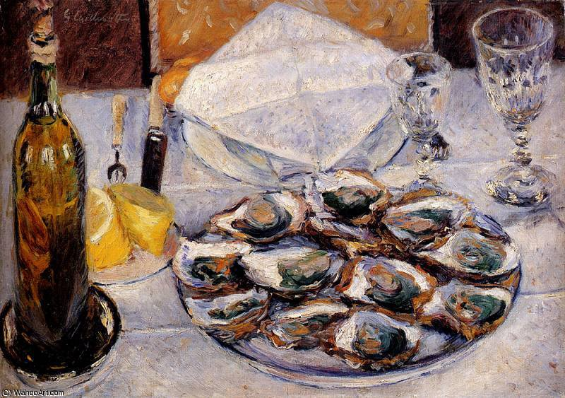 still life ostriche di Gustave Caillebotte (1848-1894, France)
