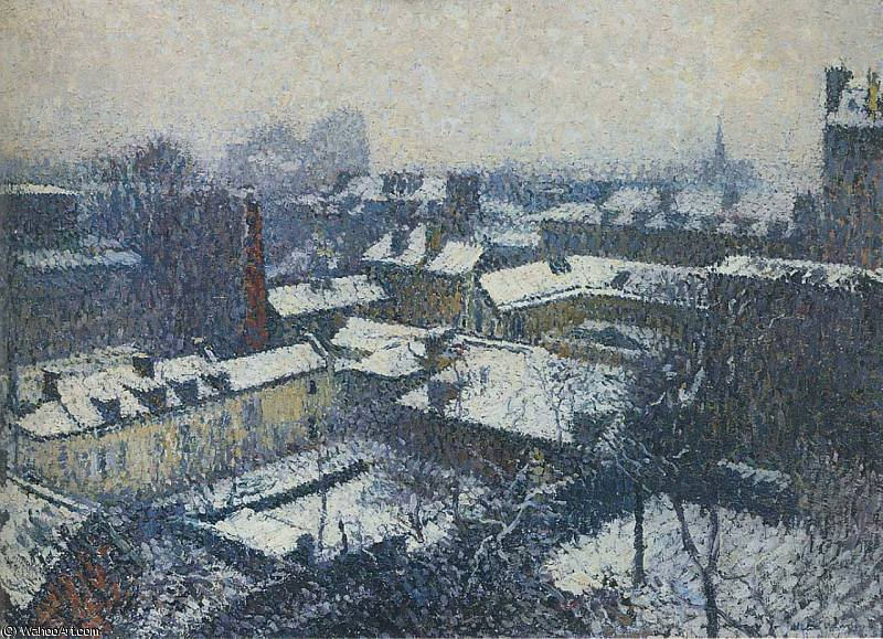 I Tetti di Parigi sotto la neve la vista dalle Artists Studio, 1898 di Henri Jean Guillaume Martin (1860-1860, France)