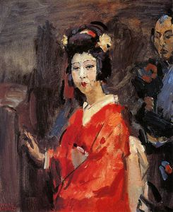 Isaac Lazarus Israels - Donna giapponese contro  rosso  Chimono  sole