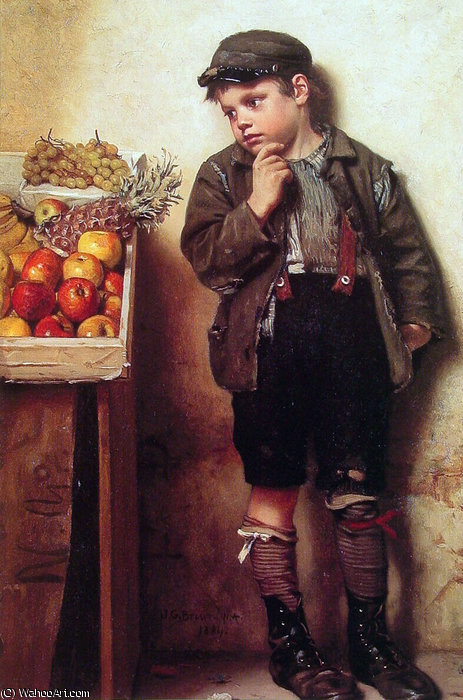 Eyeing Stand Fruit di John George Brown (1831-1913, United Kingdom) | WahooArt.com