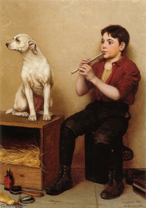 Musica Nessuno ha Charms di John George Brown (1831-1913, United Kingdom) | WahooArt.com