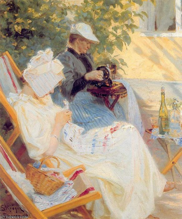 Marie y su madre it el jardin, 1891 di Peder Severin Kroyer (1851-1909, Norway)