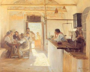 Taberna it Ravello, 1890 di Peder Severin Kroyer  (Compra Belle Arti Riproduzione Art Peder Severin Kroyer)