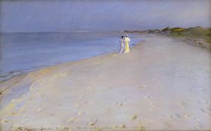 Peder Severin Kroyer - Di notte al south beach , Skagen