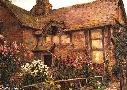 A Garden Cottage In Cholstry di Ernest Arthur Rowe (1863-1922, United Kingdom)