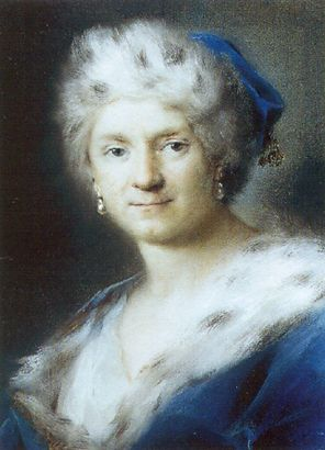 autoritratto come  Inverno  di Rosalba Carriera (1675-1757, Italy)