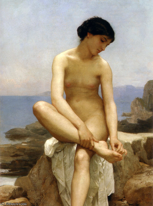 thebather, 1879 di William Adolphe Bouguereau (1825-1905, France) | WahooArt.com