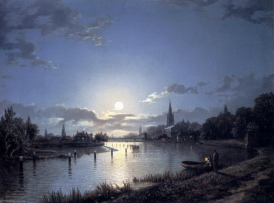Marlow on thames di Henry Pether (1828-1865, United Kingdom)