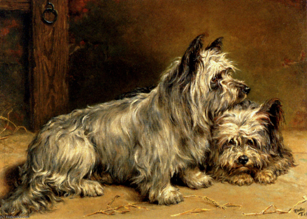 Due terrier di Ralph Hedley (1848-1913, United Kingdom) | WahooArt.com