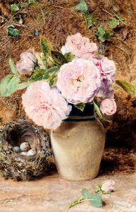 William Henry Hunt - natura morta con rose in un vaso e un Uccelli Nido