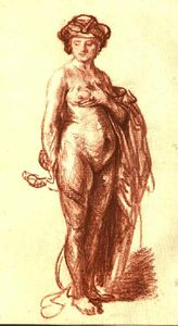 Rembrandt Van Rijn - nudo femminile con snake ( Cleopatra ) , Chal red