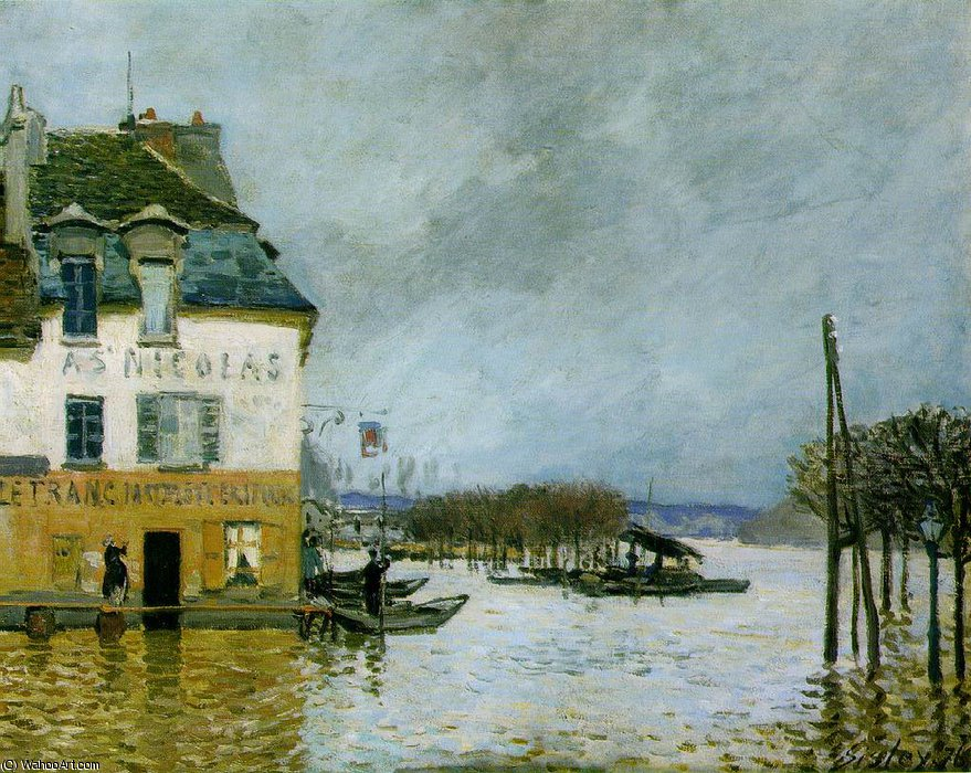 Alluvione a Port-Marly , musee des beaux -, 1876 di Alfred Sisley (1839-1899, France)