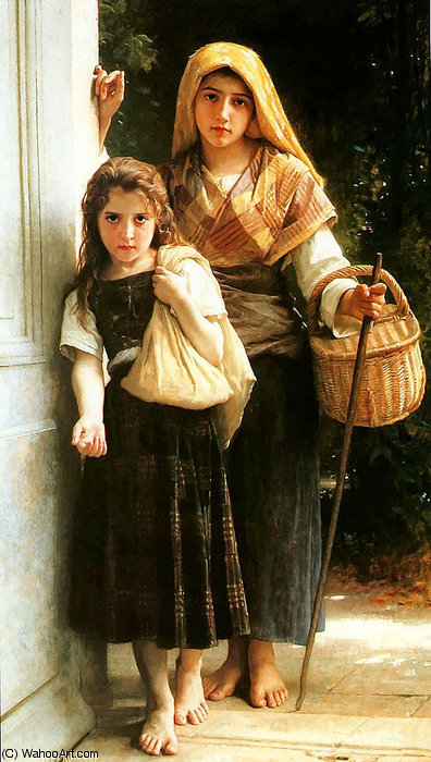 Mendiantes Petites di William Adolphe Bouguereau (1825-1905, France)