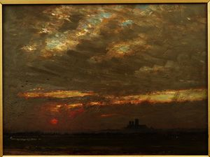 Albert Goodwin - Lincoln Cattedrale a Tramonto